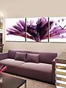 modern blommig lila väggklocka i canvas 3st