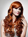 Capless extra lång hög kvalitet syntetiskt gyllenbrun lockigt hår peruker 0988-J45 27-30