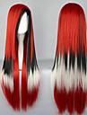 Perruques de lolita Punk Dégradé de Couleur Long Rouge / Blanc / Noir Perruques de Lolita 80 CM Perruques de Cosplay Mosaïque Perruque