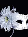 fjäder blomma vit mönster plast halvmask
