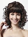 capless medium krøllete svart 100% menneskelig hår parykk fulle bang