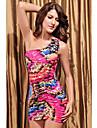 Blumendruck eine Schulter Kleid (bust :86-102waist :58-79hips :90-104length: 68cm)