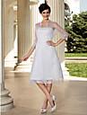 Lanting sposa a-line / principessa petite / taglie abito da sposa-al ginocchio senza spalline organza