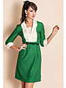 TS V Neck Contrast Collar Three Quarter Sleeve Sheath Dress