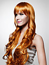 Capless extra lång högsta kvalitet kvalitet syntetiskt gyllenbrun lockigt hår peruk
