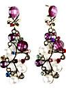 Filiala formă Resin cercei Gem-împânzit cu perle