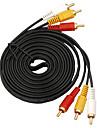 3 till 3 Gränssnitt Guldpläterade RCA-kabel (5 m)