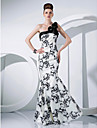 Formal Evening / Military Ball Dress - Print Plus Sizes / Petite Trumpet/Mermaid One Shoulder Floor-length Taffeta