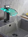 Contemporain Chrome LED cascade de verre Puissance hydroélectrique lavabo robinet