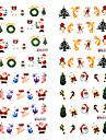 4pcs cadeau de Noël Décorations 3D Nail Sticker
