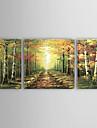 Peint à la main Paysage Trois Panneaux Toile Peinture à l'huile Hang-peint For Décoration d'intérieur