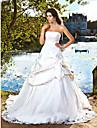 Lanting mariée robe de bal petite / tailles plus robe de mariée-train chapelle bretelles en satin