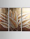 handmålade abstrakta oljemålning med guld och silver folie - set om 3