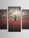 HANDMÅLAD Blommig/Botanisk Tre paneler Kanvas Hang målad oljemålning For Hem-dekoration