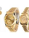 Couple's Quartz Analog Diamond Dial Steel Band Wrist Watch (1-Pair, Assorted Colors)