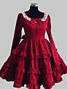 Une Pièce/Robes Doux Princesse / Elegant Cosplay Vêtements de Lolita Rouge Couleur Pleine / Nœud papillon / Lace Manches longues Genou