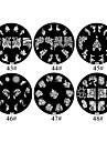 Fleurs 1PCS métalliques 2D Nail Art Stamp Plaque image (couleurs assorties, No.43-48)