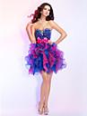 Fiesta de baile/Fiesta cóctel/Fiesta regreso/Vestidos de 18 años Vestido Corte Evasé Corto - Strapless/Escote CorazónOrganza/Con