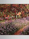 handmålade oljemålning trädgården av Claude Monet med sträckt ram