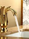 Art Deco/Retro Centerset Singel Handtag Ett hål in Ti-PVD Badrum Sink kran
