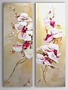 HANDMÅLAD Blommig/BotaniskModerna Två paneler Kanvas Hang målad oljemålning For Hem-dekoration