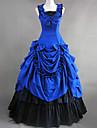 One-piece/Klänning Gotisk Lolita Victoriansk Cosplay Lolita-klänning Blå Lappverk Ärmlös Lolita Klänning För Bomull