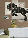 modern stil häst väggklocka i canvas uppsättning av 4