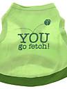 Chien Tee-shirt Vert Vêtements pour Chien Eté Printemps/Automne Lettre et chiffre Décontracté / Quotidien