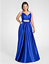 A-line V-neck Floor-length Stretch Satin Evening/Prom Dress