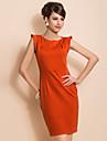 שמלת ts שיק כתף עיצוב פשטות שרוולי נדן