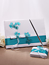 Wedding Guest Book And Pen Set With Acrylic Flowers (More Colors) Sign In Book