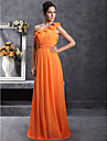 Lanting Floor-length Chiffon Bridesmaid Dress - Orange Plus Sizes / Petite Sheath/Column One Shoulder