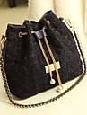Kvinnors Diamond Kontrollera kedja tofsar Tweed Crossbody Bag
