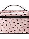 Rosa hjärta mönster Bärbar Kosmetisk Makeup Pouch Hand väska väska med sminkspegel