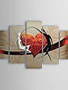 Oil Paintings Set of 5 Modern Abstract Lovers Heart  Hand-painted Canvas Ready to Hang