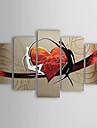 HANDMÅLAD Abstrakt Människor Alla Form,Moderna Traditionellt Fem paneler Hang målad oljemålning For Hem-dekoration