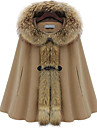 Women's Cashmere Blends Cloak with Raccoon Fur Embellishment