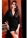 Donna Chic Deep V abito a maniche lunghe (Lunghezza: 64cm Busto :86-102cm Vita :58-79 Anca :90-104cm)