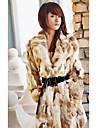 Long Sleeve Turndown Collar Rabbit Fur Casual/Party Coat