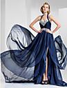 A-line prințesă halter drăguț instanță tren satin chiffon rochie de seară cu beading de ts couture®