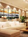 modern, ceas de perete peisaj marin în set panza de 5