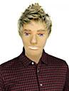 Capless högkvalitativa syntetiska korta raka blonda Män Peruker