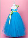 Ball Gown/A-line Floor-length Flower Girl Dress - Satin/Tulle Sleeveless