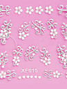 4PCS 3D White Lace Nail Stickers Fleurs