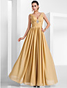 Formal Evening/Military Ball Dress - Gold Plus Sizes A-line/Princess V-neck Floor-length Chiffon