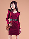 Zhi Yuan Epaulet Decor PU Læder Splejsning Dress (Flere farver)