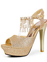 Leatherette Stiletto Heel Peep Toe / Sandals With Rhinestone Party / Evening Shoes (More Colors)