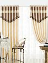 (Two Panels) Traditional Elegant Print Energy Saving Curtain Set With Tassels
