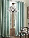 modernes deux panneaux bleu solide salon rideaux en lin de faux opaques