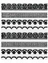 4PCS Black Lace Nail Stickers NO.2 Bröllop